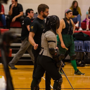 HEMA student & coach at sword fighting event